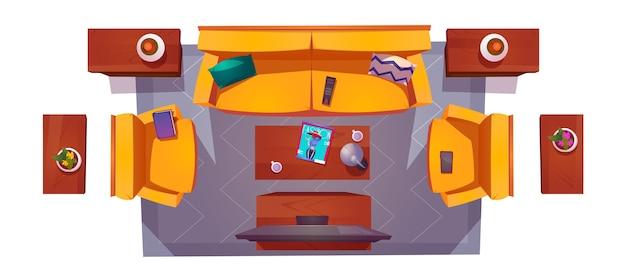 Vue de dessus de l'intérieur du salon