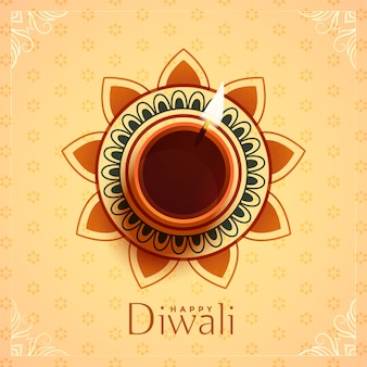 Vue de dessus de lampe diya pour le festival de diwali
