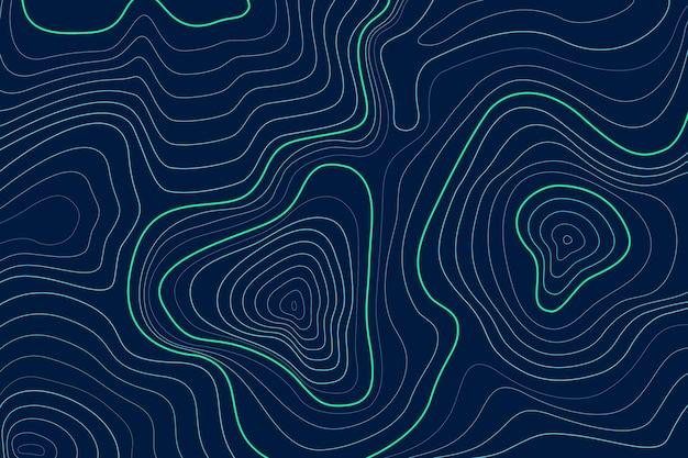 Vue de dessus des lignes de contour de la carte topographique