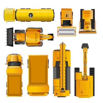 Vue de dessus de machines de construction