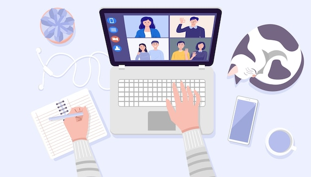 Vue de dessus des mains de l'homme à l'aide d'un ordinateur portable pour la vidéoconférence à la maison.