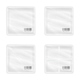 Une vue de dessus de la maquette d'emballage carré en polystyrène blanc