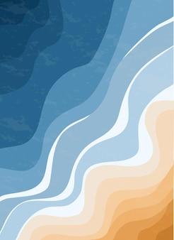 Vue de dessus de la mer bleue et de la plage de sable vagues de l'océan