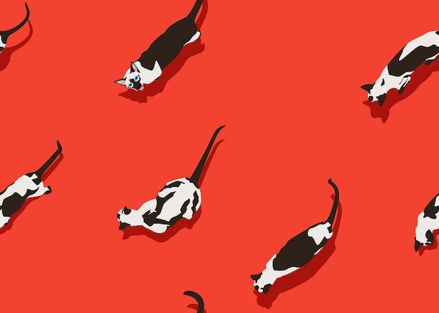 Vue de dessus modèle sans couture de chat siamois sur fond rouge
