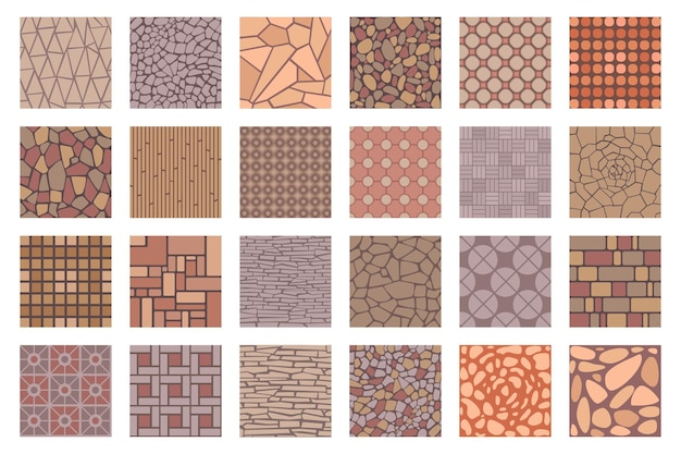 Vue de dessus des modèles de carreaux de chaussées de rue. carreaux de sol avec texture de pierre, de brique et de galets. patio pavé ou trottoir de parc ensemble vectoriel de carreaux de rue à motif de route pour l'illustration de la chaussée
