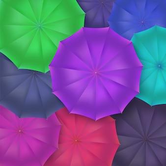 Vue de dessus de parapluies ouverts