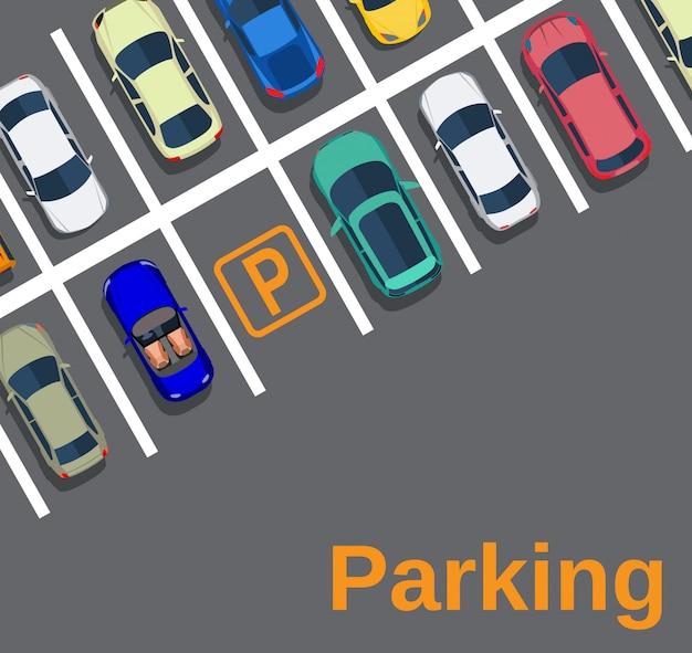 Vue de dessus d'un parking en ville