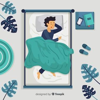 Vue de dessus, personne, dormir, lit, fond