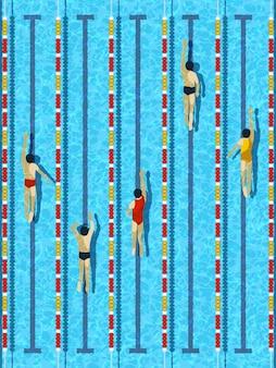 Vue de dessus piscine avec vecteur de nageurs d'athlète