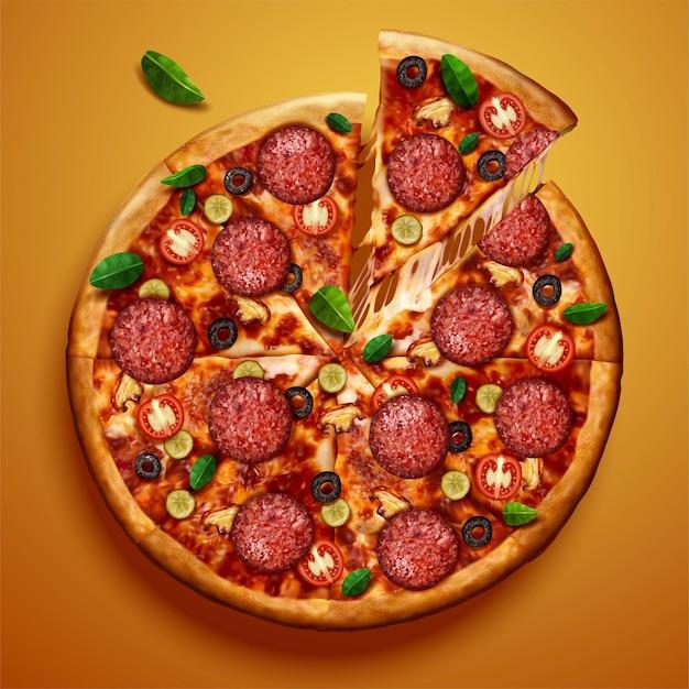 Vue de dessus de la pizza au pepperoni avec fromage filandreux sur illustration 3d jaune