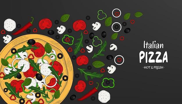 Vue de dessus de la pizza italienne et des ingrédients modèle de conception de menu alimentaire croquis dessiné main vintage