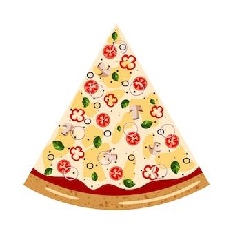 Vue de dessus de pizza tranche végétarienne avec différents ingrédients: champignon, olive, poivron, tomate