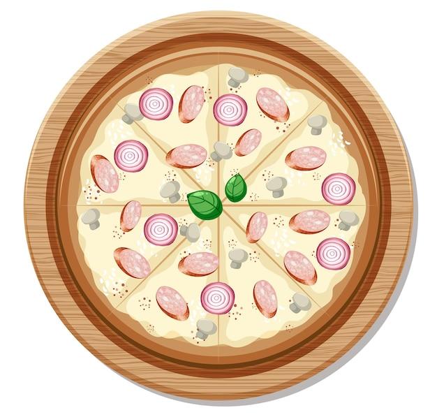 Vue de dessus d'une pizza végétalienne entière sur une plaque en bois isolée