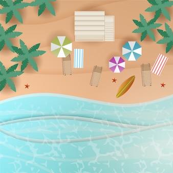 Vue de dessus de plage en arrière-plan de style papier