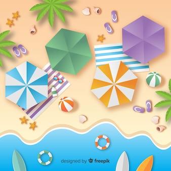 Vue de dessus de plage dans le style de papier