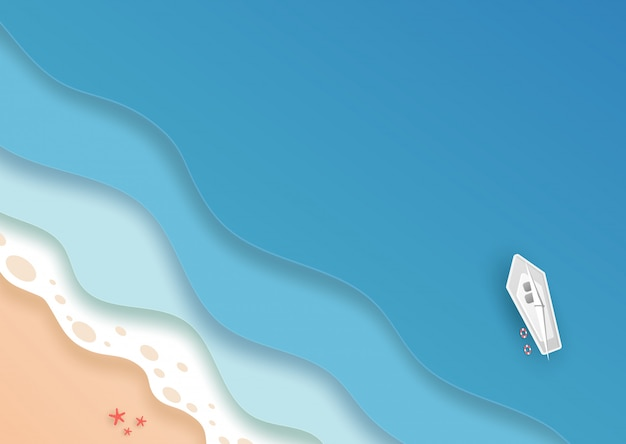 Vue de dessus plage et mer avec bateau blanc et étoile de mer en été. concept d'art de papier de vecteur.