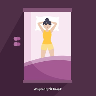 Vue de dessus plat dormir pose fond