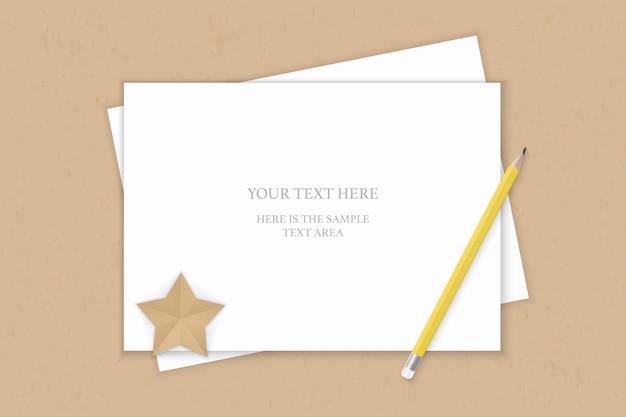 Vue de dessus plat laïque élégant papier de composition blanc crayon jaune et artisanat en forme d'étoile sur fond kraft.