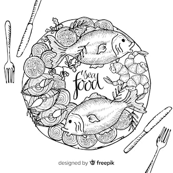 Vue de dessus des plats de fruits de mer sur la table du restaurant