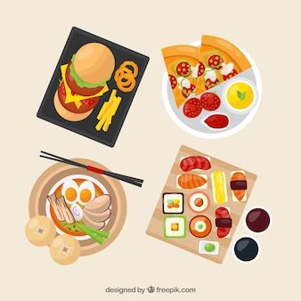 Vue de dessus des plats de nourriture avec un design plat