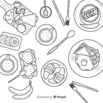 Vue de dessus des plats sur la table de restaurant