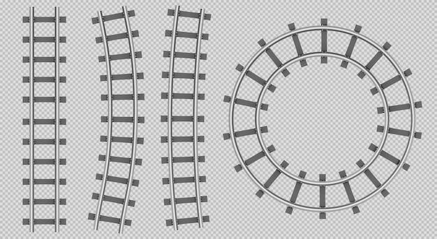 Vue de dessus des rails de train, droite, courbe, chemin rond