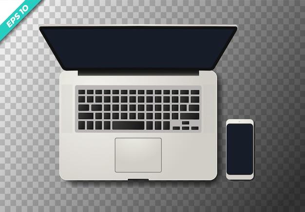 Vue de dessus réaliste ordinateur portable et smartphone sur transparent