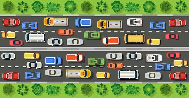 Vue de dessus de route avec autoroutes