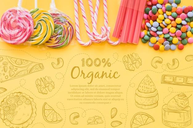 Vue de dessus sélection de bonbons au sucre