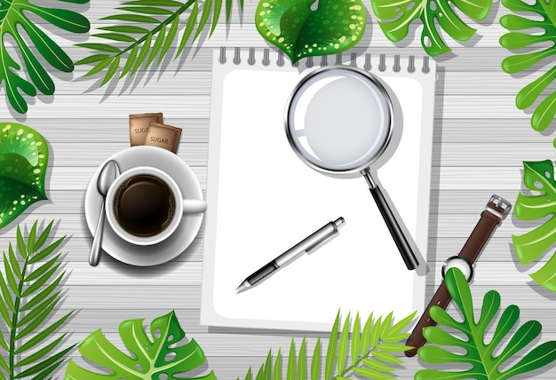 Vue de dessus de la table en bois avec éléments de bureau et élément de feuilles