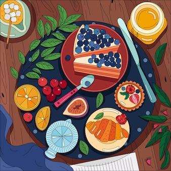 Vue de dessus d'une table en bois servie avec des serviettes et des plats de petit-déjeuner disposés sur de la vaisselle
