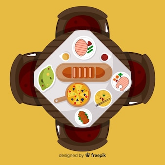 Vue de dessus de la table de restaurant élégant avec un design plat