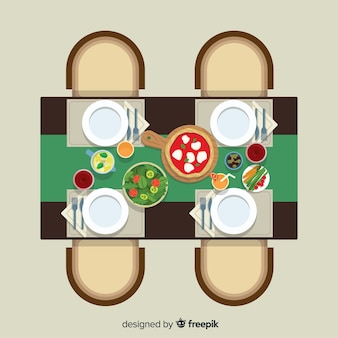 Vue de dessus de table de restaurant moderne avec un design plat