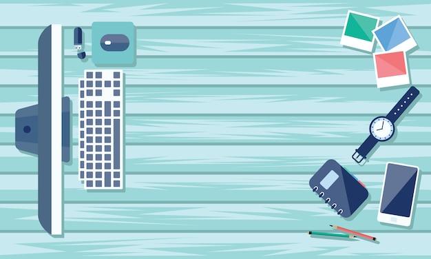 Vue de dessus de table de travail et bureau avec gadget et espace libre pour le texte.