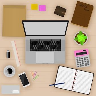 Vue de dessus de table de travail, illustration vectorielle.