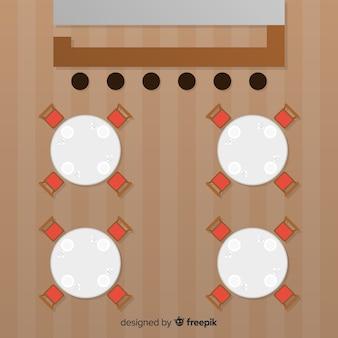 Vue de dessus des tables de restaurant vides avec un design plat