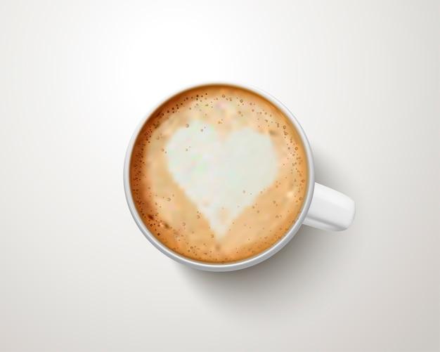 Vue de dessus d'une tasse de café avec art latte