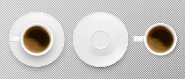 Vue de dessus de la tasse à café. espresso et latte ou cappuccino vector illustration