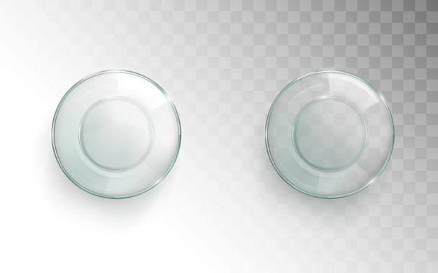 Vue de dessus de tasse en verre vide, verre à eau pour set d'eau