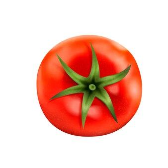 Vue de dessus de tomate fraîche, délicieuse tomate isolée