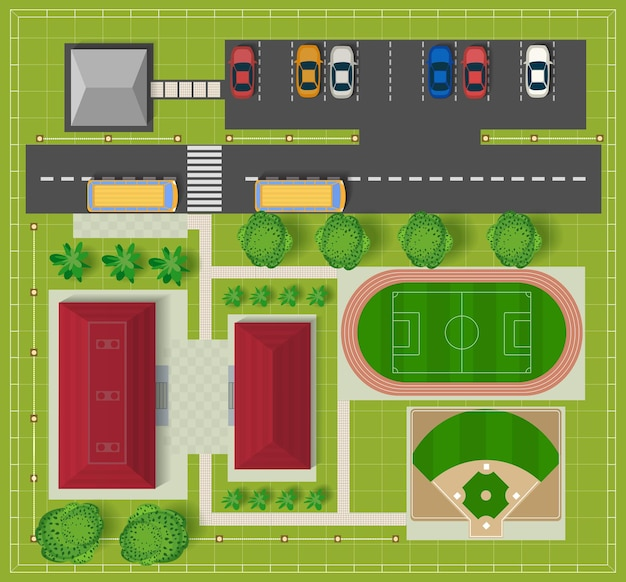 Vue de dessus de la ville depuis les bâtiments scolaires, un terrain de football et un terrain de baseball