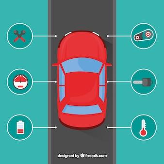 Vue de dessus de la voiture autonome avec un design plat