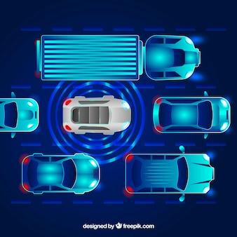 Vue de dessus d'une voiture autonome futuriste au design plat