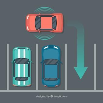 Vue de dessus de la voiture autonome futuriste avec un design plat