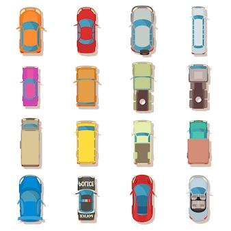 Vue de dessus de voiture ci-dessus sur le jeu d'icônes. illustration de plate de la vue de dessus de 16 voitures ci-dessus sur les icônes vectorielles pour le web
