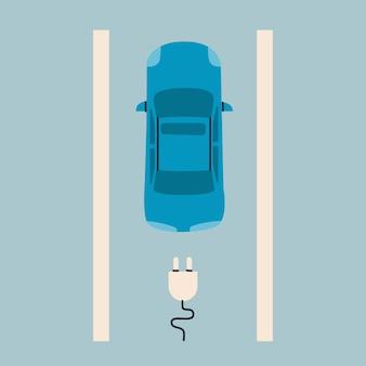 Vue de dessus de voiture électrique smbol de charge