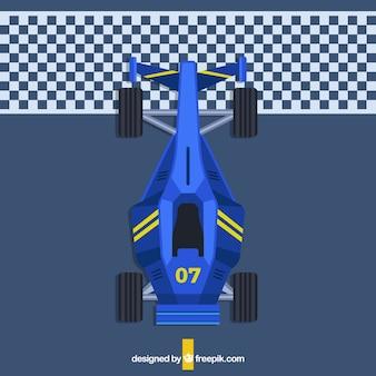 Vue de dessus de la voiture de formule 1 plate à la ligne d'arrivée