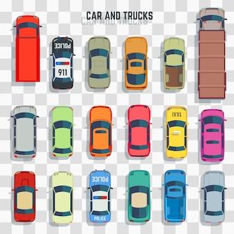 Vue de dessus de voitures et camions