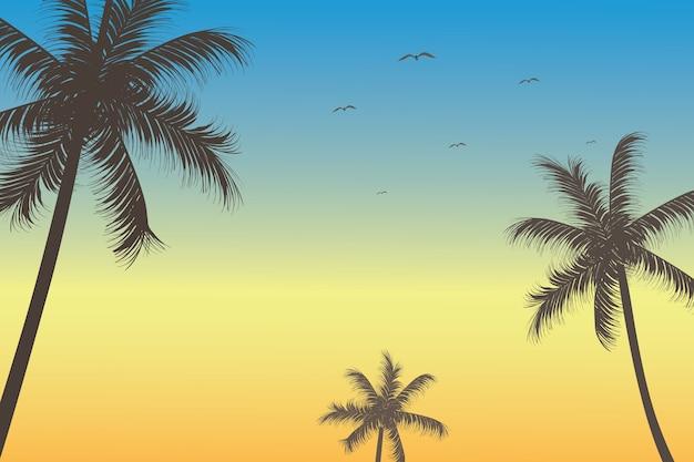Vue du ciel pendant l'aube avec des mouettes et des palmiers, illustration vectorielle