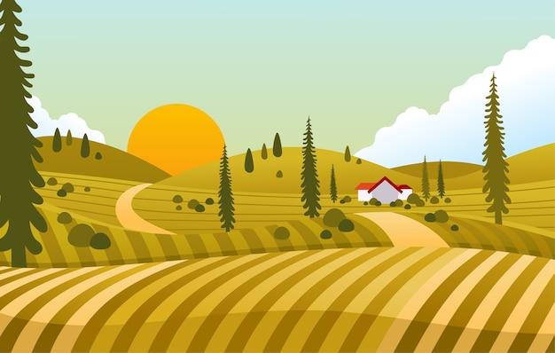 Vue du coucher du soleil en campagne avec maison au milieu du champ vert